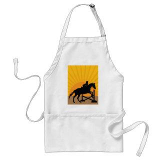 Silueta de salto del caballo delantal