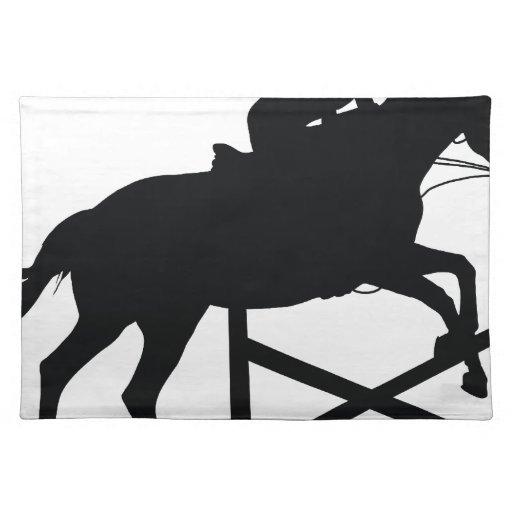 Silueta de salto del caballo manteles