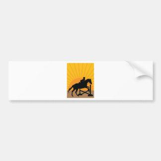 Silueta de salto del caballo pegatina para auto