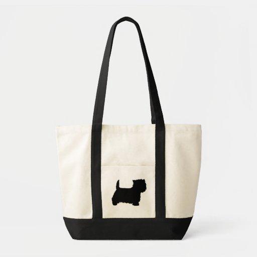 Silueta de Terrier blanco de montaña del oeste Bolsa De Mano