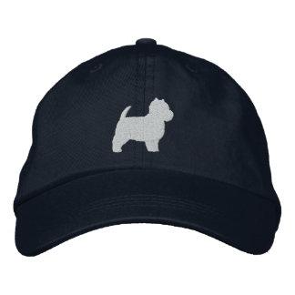 Silueta de Terrier blanco de montaña del oeste Gorras De Béisbol Bordadas