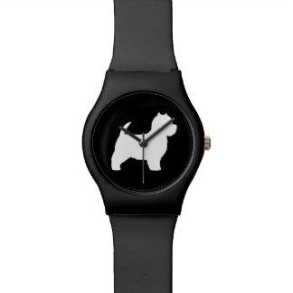Silueta de Terrier blanco de montaña del oeste Reloj De Mano