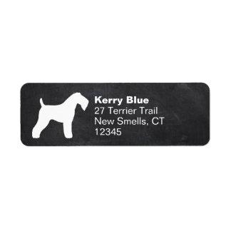 Silueta de Terrier de azul de Kerry Etiqueta De Remite