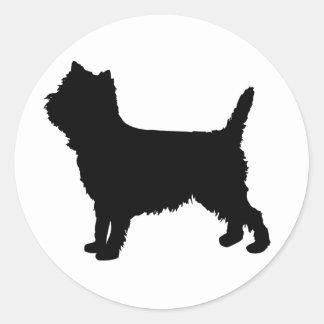Silueta de Terrier de mojón de Westie/ Pegatina Redonda