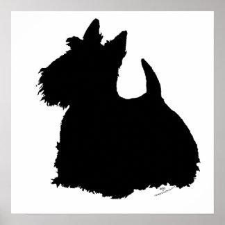 Silueta de Terrier del escocés Poster