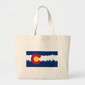 Silueta de Treeline de la bandera de Colorado Bolsa Tela Grande