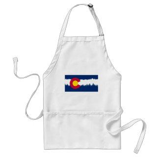 Silueta de Treeline de la bandera de Colorado Delantal