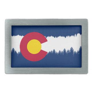 Silueta de Treeline de la bandera de Colorado Hebilla De Cinturón Rectangular