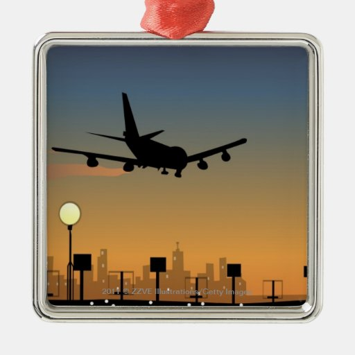 Silueta de un aeroplano en vuelo ornaments para arbol de navidad