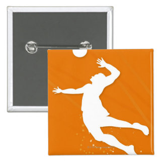 Silueta de un hombre que juega a voleibol pin cuadrada 5 cm