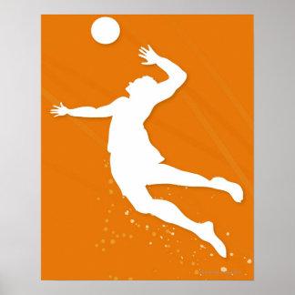 Silueta de un hombre que juega a voleibol póster
