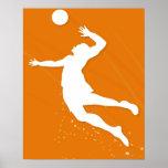 Silueta de un hombre que juega a voleibol posters
