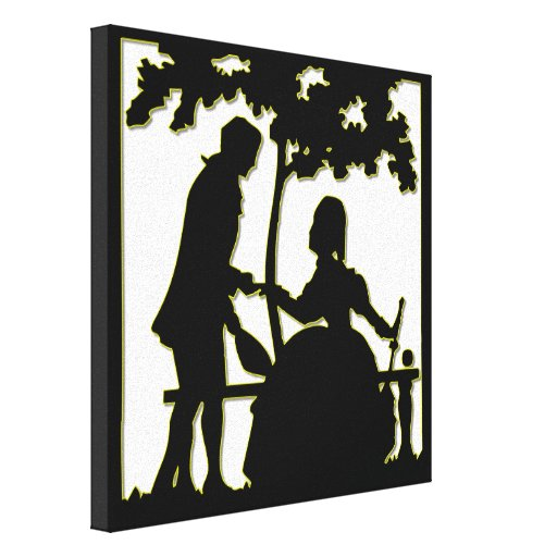 Silueta de un par en amor en un parque lienzo envuelto para galerías