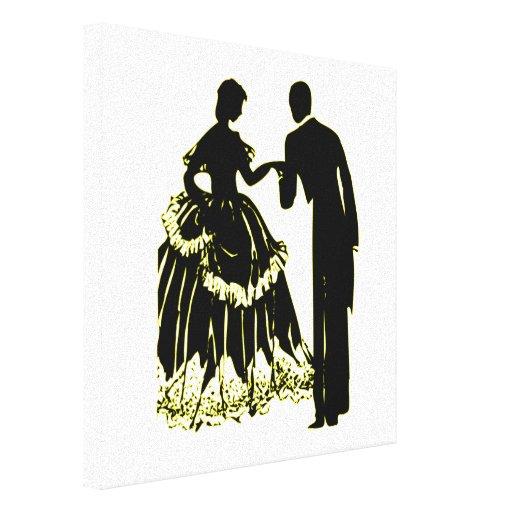 Silueta de un par en amor lona estirada galerías
