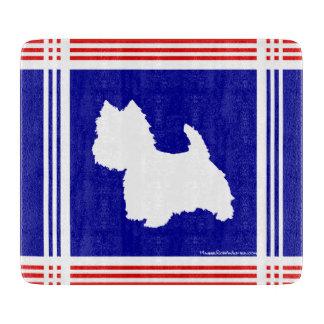 Silueta de Westie roja, blanco, azul Tablas Para Cortar