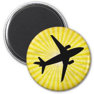 Silueta del aeroplano; amarillo imán para frigorífico