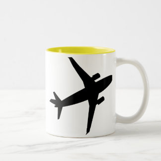 Silueta del aeroplano; amarillo taza de dos tonos