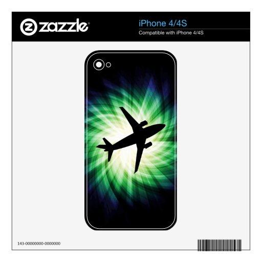 Silueta del aeroplano; Fresco iPhone 4S Skins
