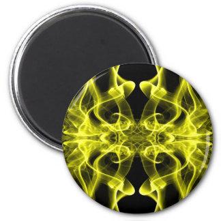 Silueta del amarillo del extracto del humo colorea iman