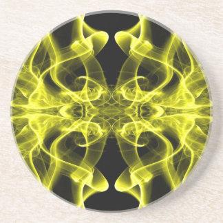 Silueta del amarillo del extracto del humo colorea posavasos manualidades