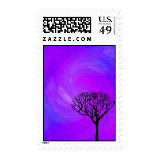 Silueta del árbol (aurora boreal) sellos