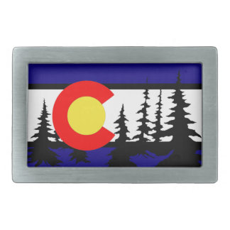 Silueta del árbol de la bandera de Colorado Hebilla Cinturón Rectangular