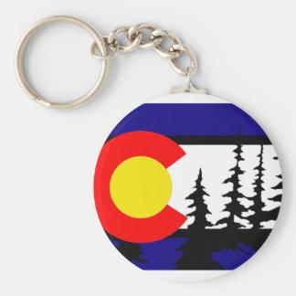 Silueta del árbol de la bandera de Colorado Llavero Redondo Tipo Pin