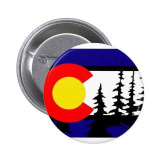 Silueta del árbol de la bandera de Colorado Pin Redondo De 2 Pulgadas