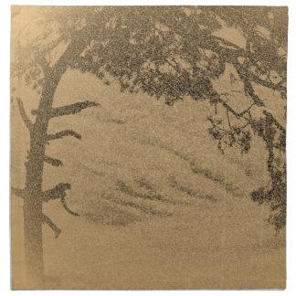Silueta del árbol de pino del vintage, salida del  servilletas imprimidas