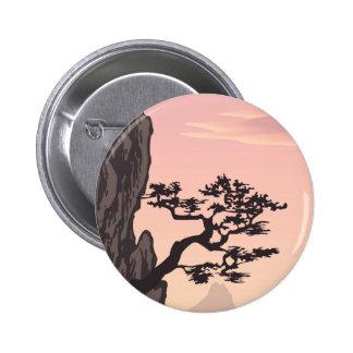 Silueta del árbol en rosa pins