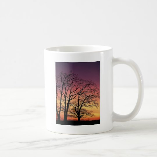 Silueta del árbol taza de café