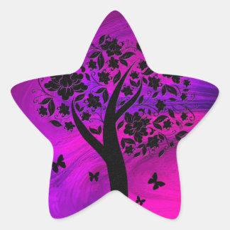Silueta del árbol y arte abstracto de las mariposa pegatinas forma de estrella personalizadas