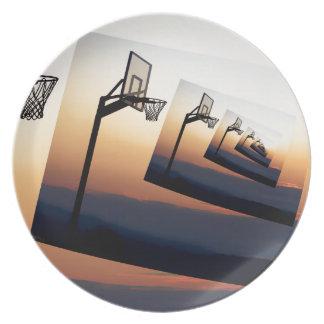 Silueta del aro de baloncesto plato de cena