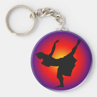 Silueta del bailarín del jazz llavero redondo tipo pin