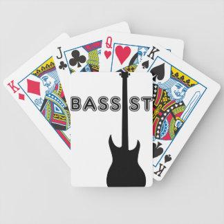 Silueta del bajista baraja de cartas
