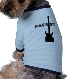 Silueta del bajista camiseta con mangas para perro