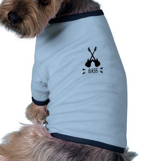 Silueta del bajo de la música camisetas de perro