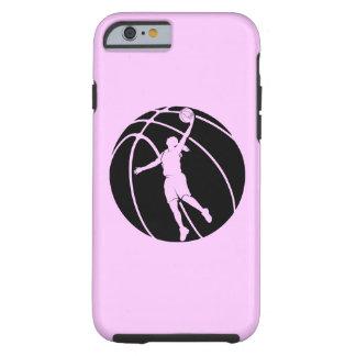 Silueta del baloncesto del chica funda para iPhone 6 tough