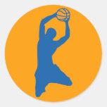 silueta del baloncesto etiquetas redondas