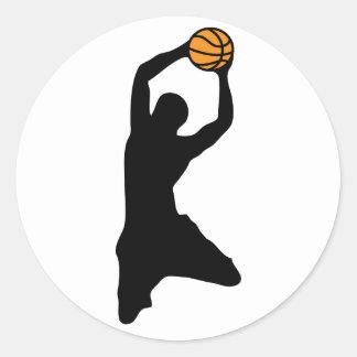 silueta del baloncesto pegatina redonda
