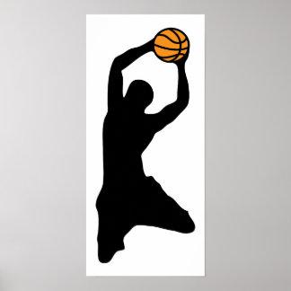 silueta del baloncesto póster