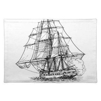 Silueta del barco pirata mantel