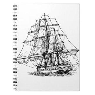 Silueta del barco pirata notebook