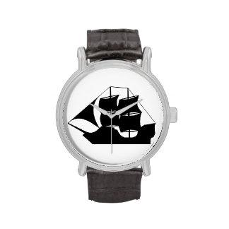 Silueta del barco pirata relojes