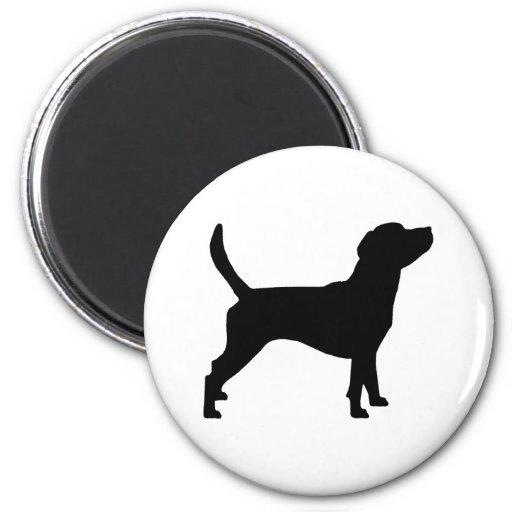 Silueta del beagle (en negro) imán redondo 5 cm