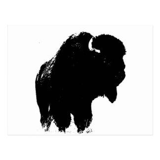 Silueta del bisonte del búfalo del arte pop tarjetas postales