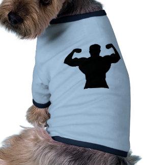 silueta del bodybuilder camiseta con mangas para perro