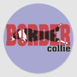 Silueta del border collie, saltando pegatinas redondas