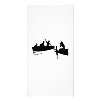 Silueta del bote de remos y del muelle tarjetas con fotos personalizadas