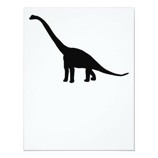 """Silueta del Brontosaurus del dinosaurio Invitación 4.25"""" X 5.5"""""""